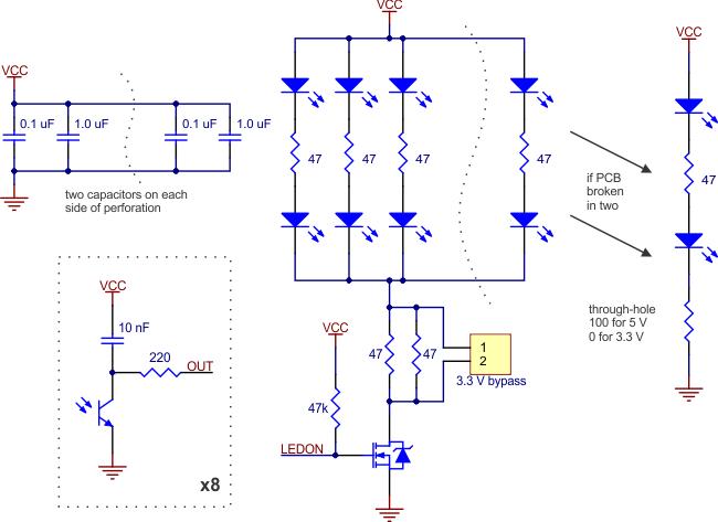 Schéma du détecteur de ligne QTR-8RC